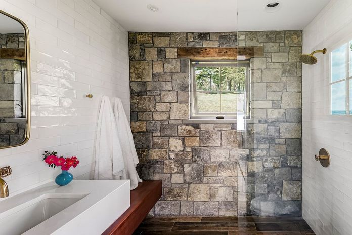 Rustic Bathroom With Tile Walls