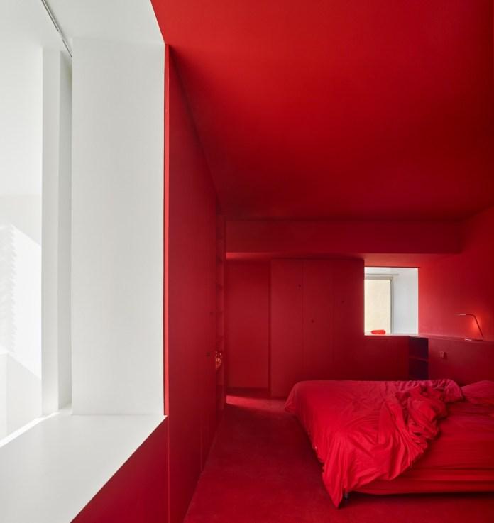 Minimalist Red Bedroom