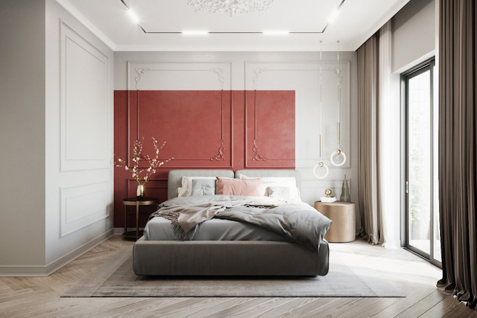 Simple Red Accent Bedroom