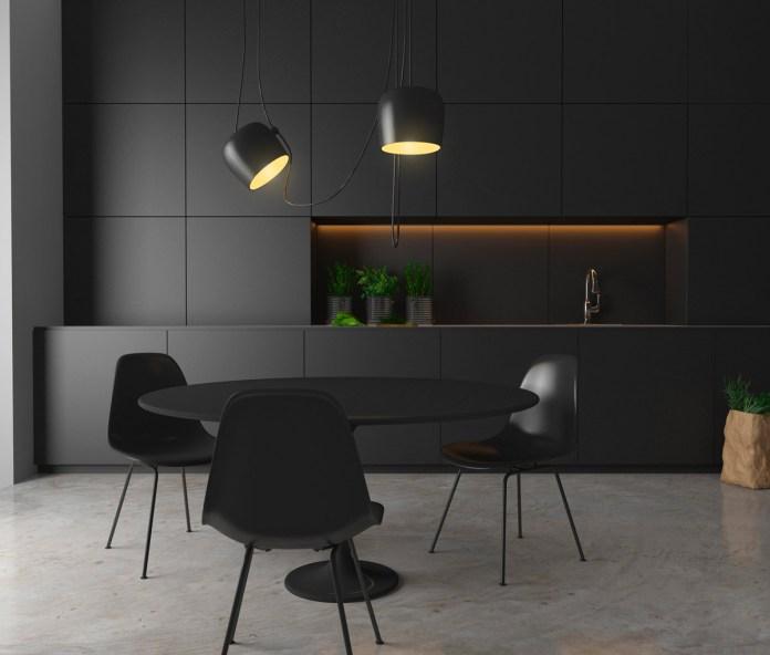 Dark Kitchen with Ambient Lighting