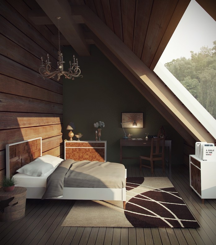 Dark Wooden Attic Bedroom