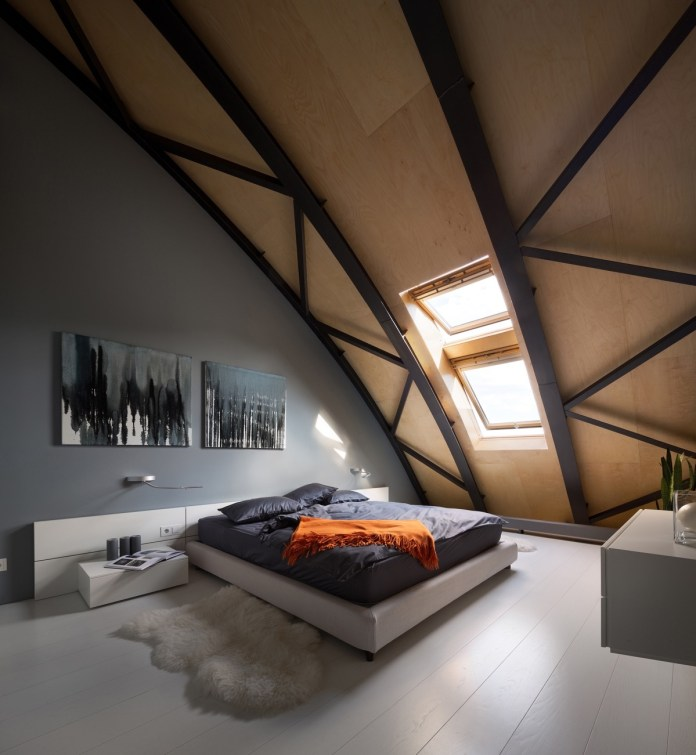 Attic Bedroom with Wooden Accent