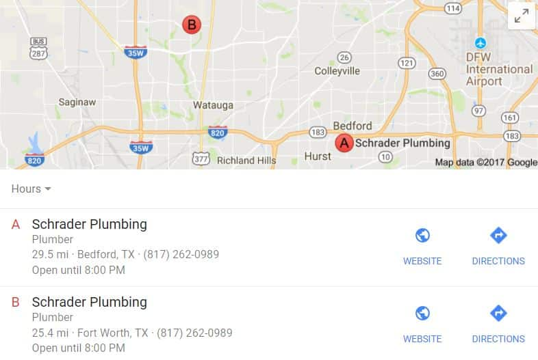 Schrader Plumbing Local Search Visibility Report | Riewe