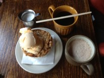 Our tradition is to eat an apple crisp and ice cream. Oh, and coffee too.