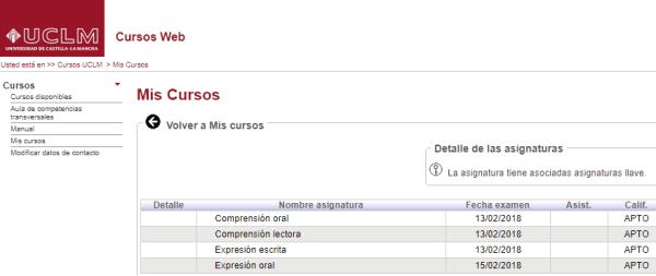 Resultados del examen de B2 de Inglés realizado entre el 13 y el 15 de febrero