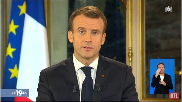 Emmanuel Macron pendant son discours