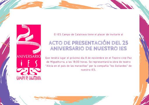 Acto 25 aniversario IES Campo de Calatrava de Miguelturra