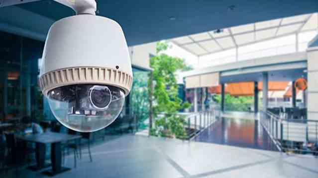 Dome security camera building lobby.