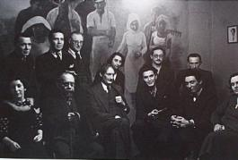 Henri Barbusse (center) surrounded by leading left-wing intellectuals in his office of the literary journal Monde Paris, c. 1935