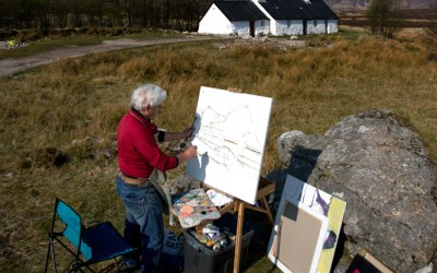 Sketching and painting at Glencoe, West Highlands