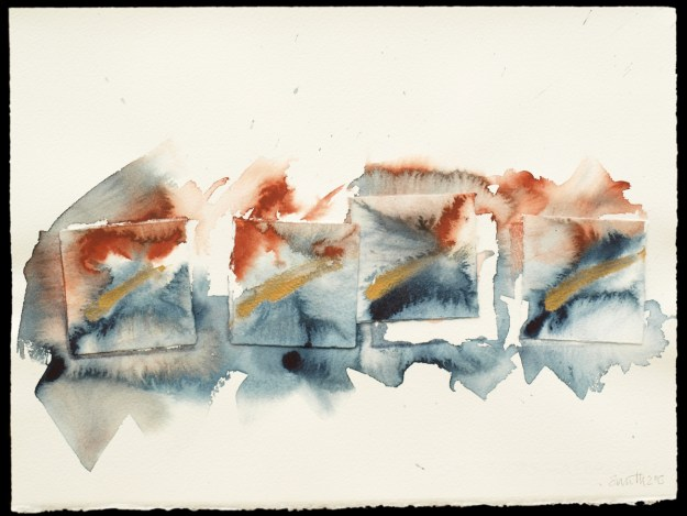 Cogden Tideline 3 Watercolour and ink on paper by David Smith