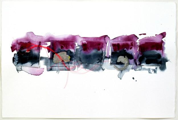 Tideline 1 - watercolor & flotsam on paper