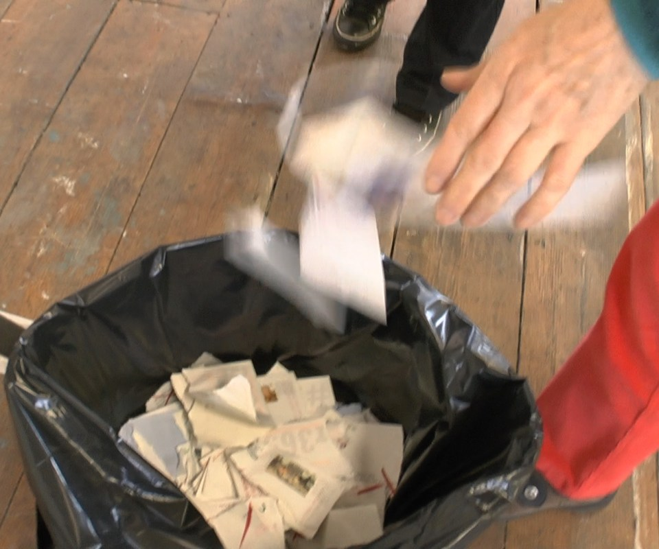 Unopened artworks get destroyed and binned by audience members