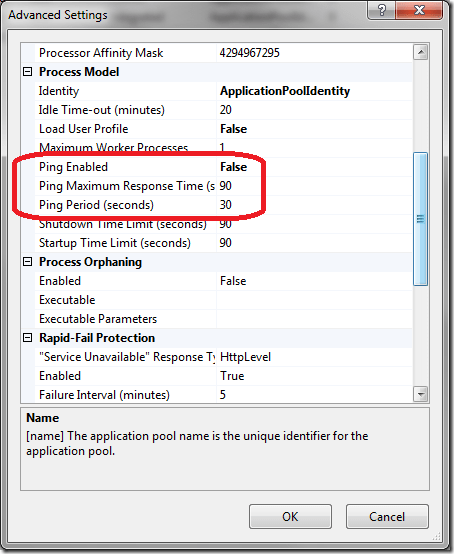 IIS 7 App Pool Advanced Settings - Ping