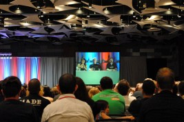 Sirtis, Spiner and Wheaton on the big screen at the Next Gen panel.