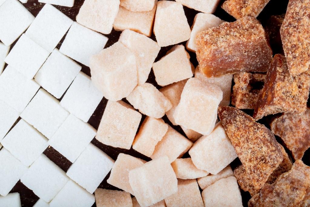 White, brown and palm sugar