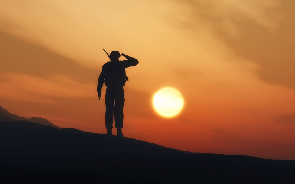 soldier standing guard