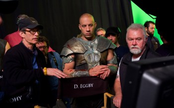 David Twohy Vin Diesel David Eggby at the monitors Montreal RIDDICK 2012.