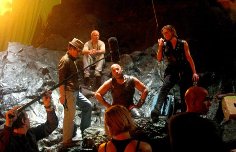 David Twohy, Vin Diesel, Katee Sackoff, Rehearsing on Demon Peak, RIDDICK, 2012.
