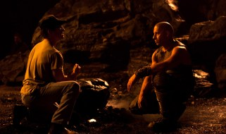 David Twohy and Vin Diesel, a rare quiet moment on set, Montreal, RIDDICK, 2012.