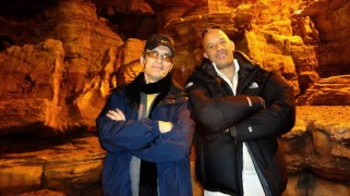 David Twohy and Vin Diesel, rehearsing on set on a cold Sunday afternoon, Montreal, RIDDICK, 2012.