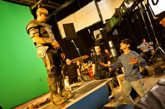 Vin Diesel, David Twohy rehearsing Promontory Scene Montreal RIDDICK 2012.