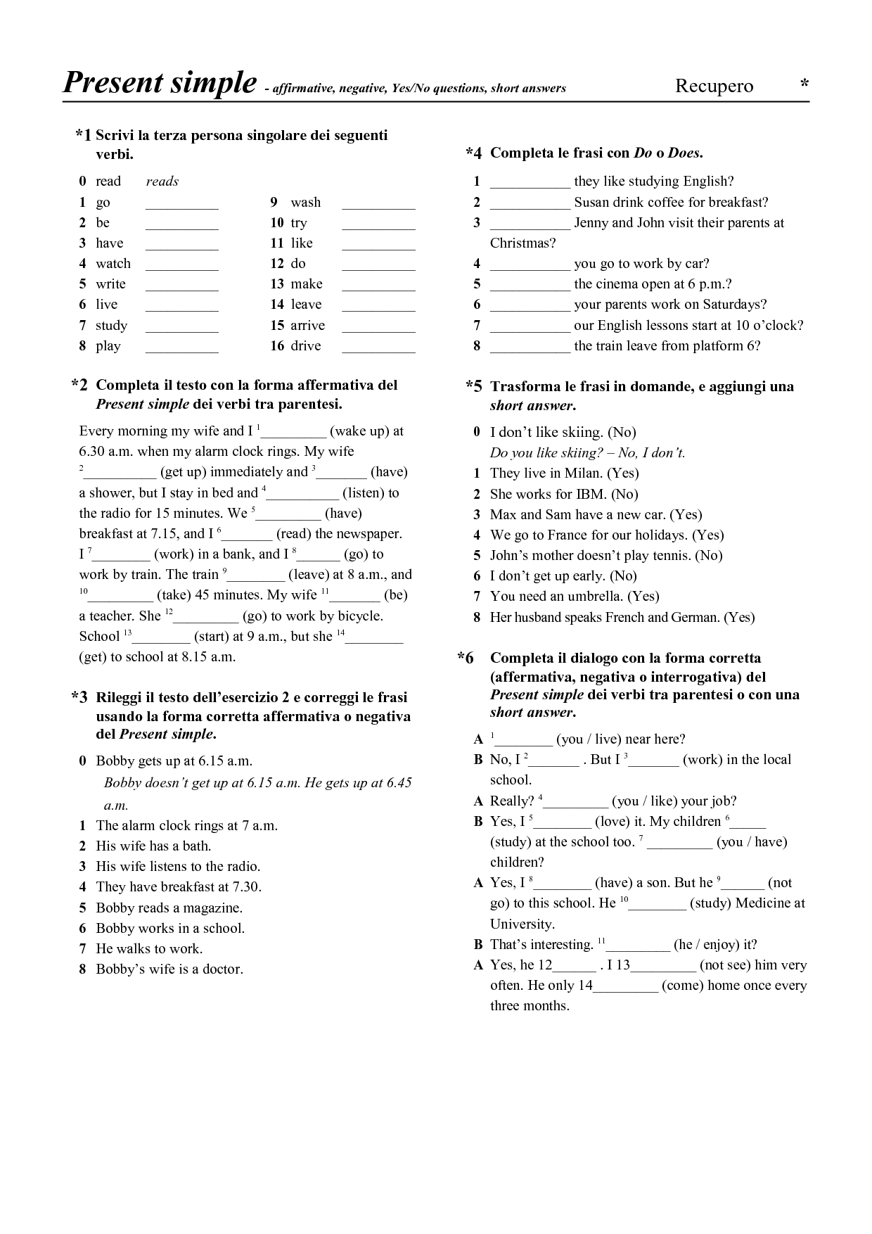 Present Simple Questions Exercises