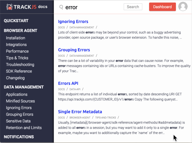 Search on TrackJS Documentation