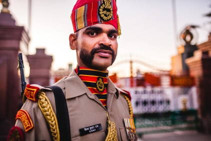Wagah border, only road crossing between India and Pakistan. India, 2013.
