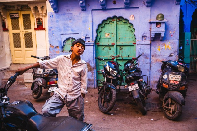 "Sometimes I'm not really looking anymore, just letting the world passing by in front of me, in those moments, time is like ""in suspension"". This was in the streets of the old city of Jodhpur, right at this corner, time stopped for a couple of seconds. Jodhpur, India, 2014."