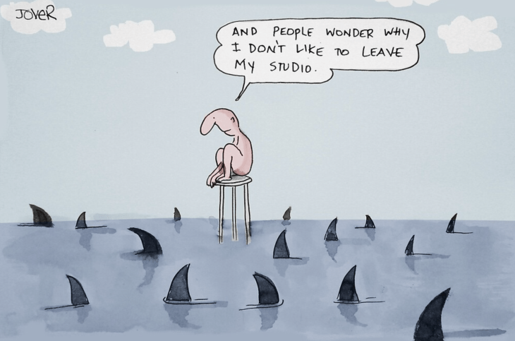Cartoon to show workplace politics, a shark infested place!
