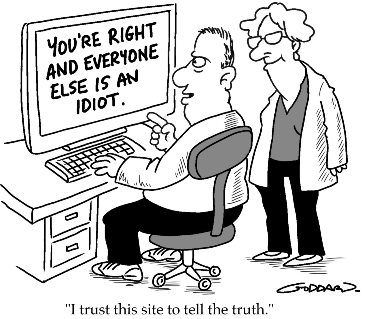 Seeing a blind spot in action cartoon.