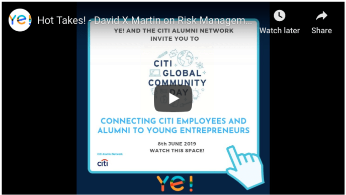 David X Martin advises young entrepreneurs for Citi Global Community Day (five-minute video)