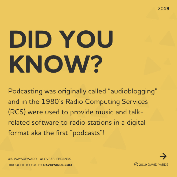 Podcasting originally started in the 1980's and was originally called audioblogging