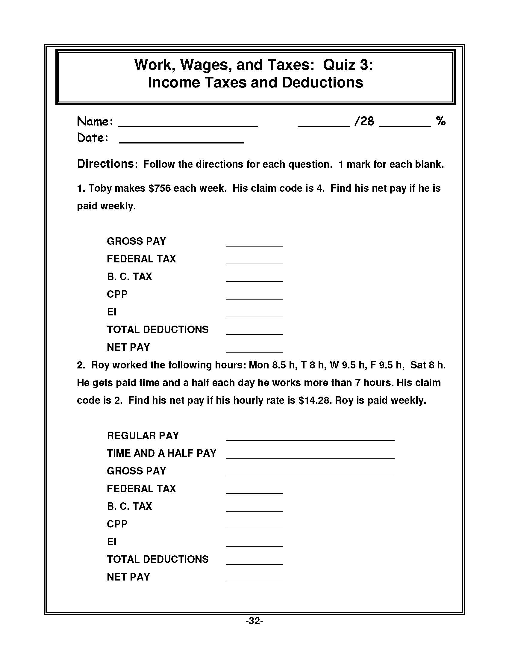Math Essentials Book 7 Work Wages And Taxes