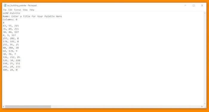 김프 팔레트 자습서 코드 제목이있는 CSS 문서
