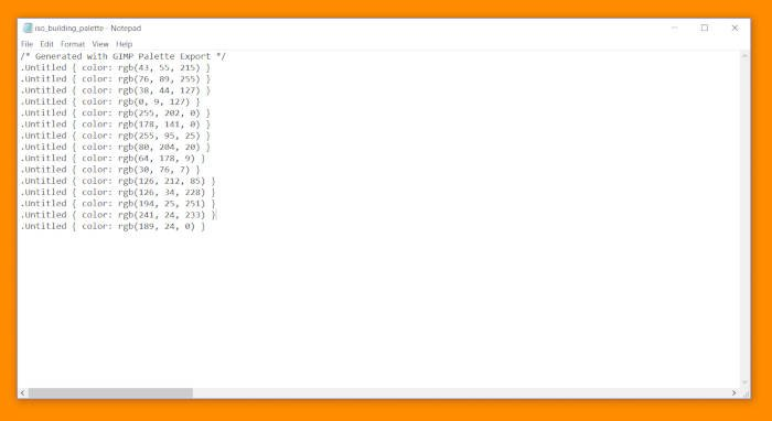 GIMPパレットチュートリアルコードCSSドキュメント