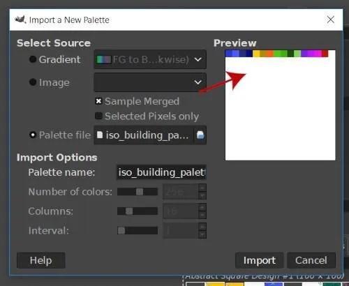 GIMPで新しいパレットプレビューボックスをインポートする