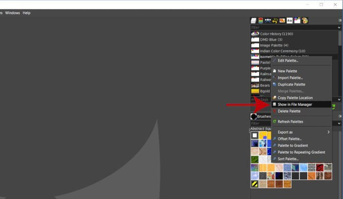 右クリックファイルマネージャで表示パレットチュートリアルGIMP 2 10