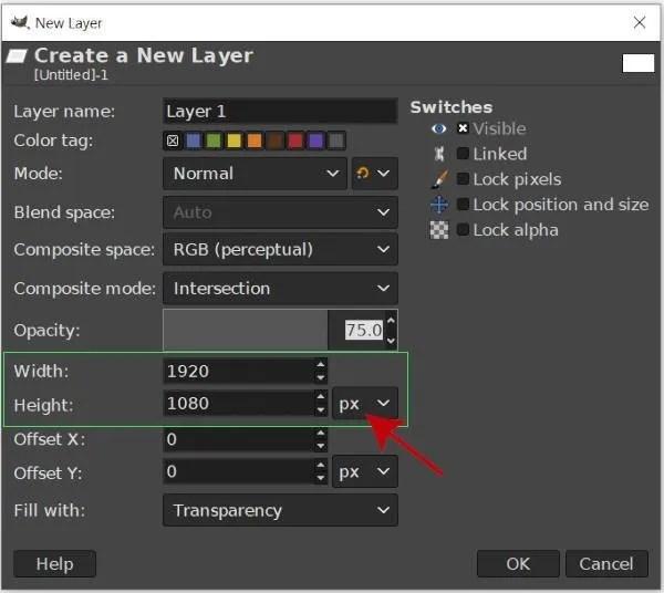 画像の幅と高さを調整する新しいレイヤーGIMPを作成する