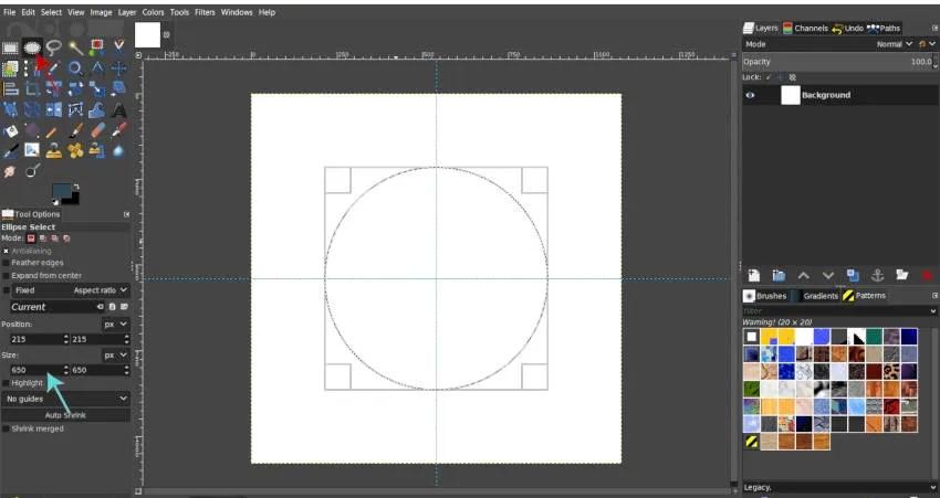 Dibuja un círculo con la herramienta Ellipse GIMP 2 2019