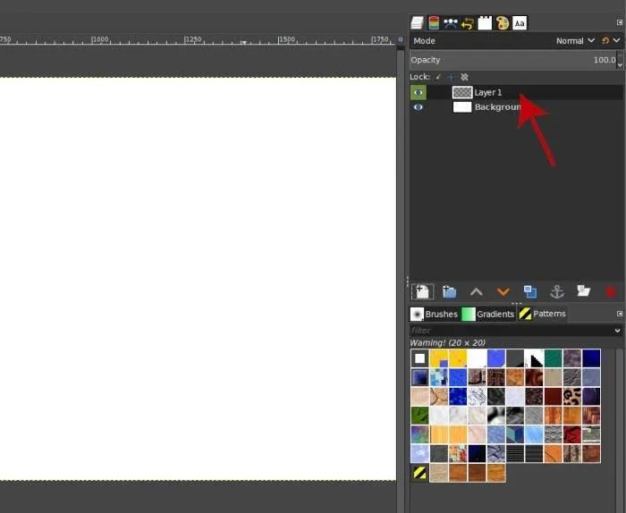 Jauns slānis GIMP slāņu panelī