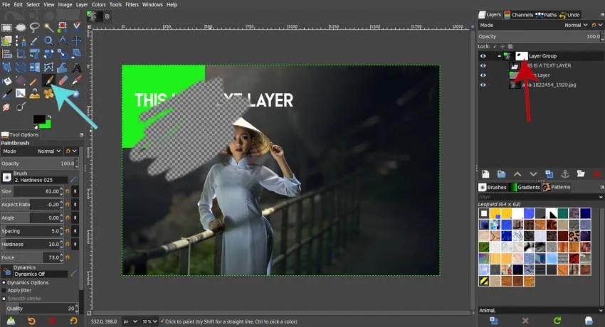 Krāsa melna uz balta slāņa maska GIMP 2019