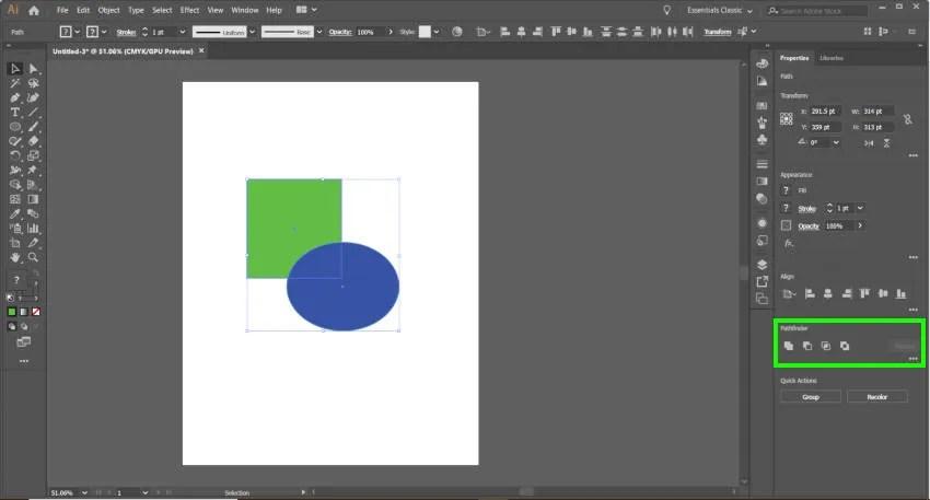 Adobe Illustrator Ceļa meklētāja rīks