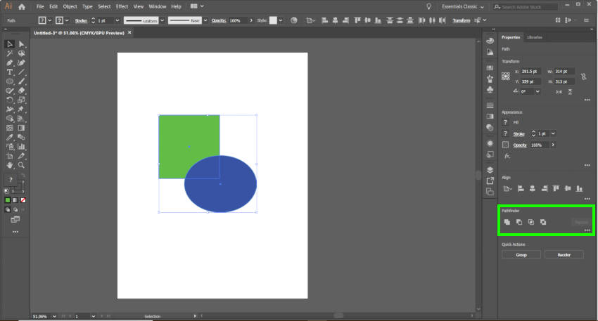 Adobe Illustrator 경로 파인더 도구
