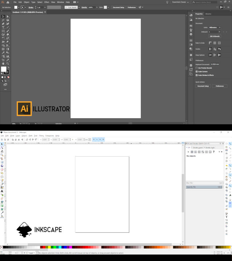 Adobe Illustrator срещу Inkscape Artboard и Canvas
