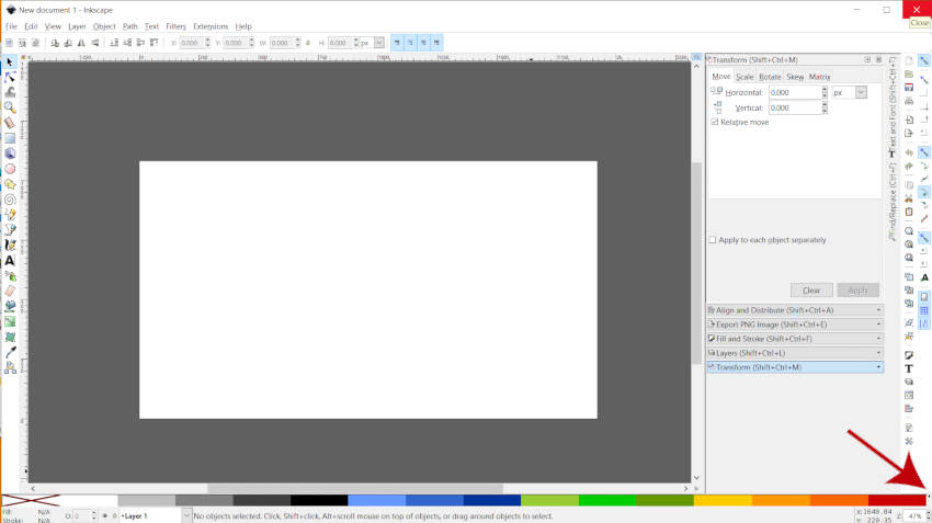 Click the Swatches Menu in Inkscape