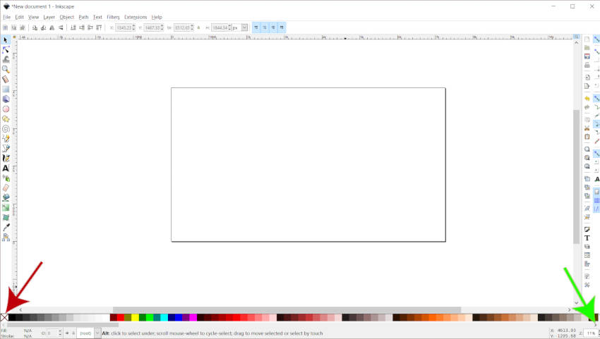 A színpaletta-sáv Inkscape színei magyarázatot adtak