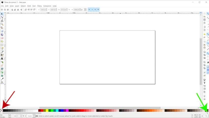 Krāsu paletes joslas Inkscape krāsas skaidrojums