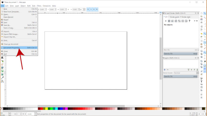 Menu de Propriedades do Documento Tutorial do Inkscape